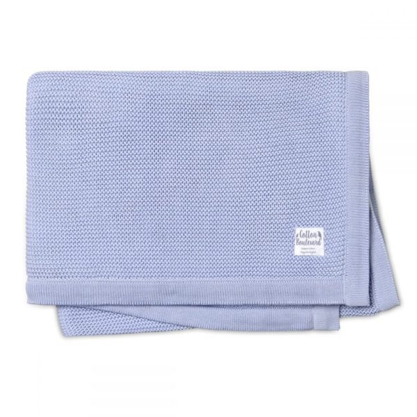 Organic Cotton Knitted Blanket Misty Blue