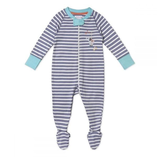 Pure Organic Cotton Striped Sleepsuit, Unisex