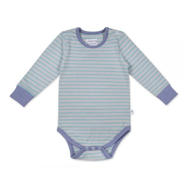 Organic Cotton Long Sleeved Bodysuit Aqua Stripe