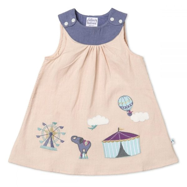 Organic Cotton Needlecord Pinafore Dress, Girls, Circus pattern
