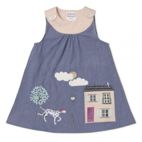 Organic Cotton Needlecord Pinafore Dress, Girls, Dog and House pattern