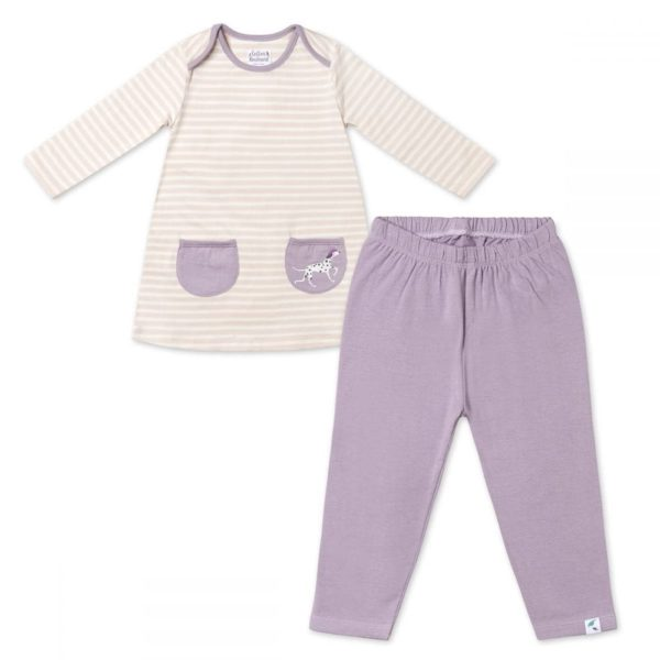 Pink Stripe Tunic Dress & Lavender Leggings set
