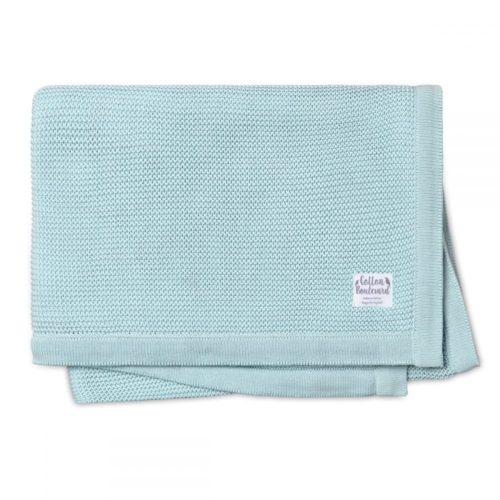 Organic Cotton Knitted Blanket Aqua