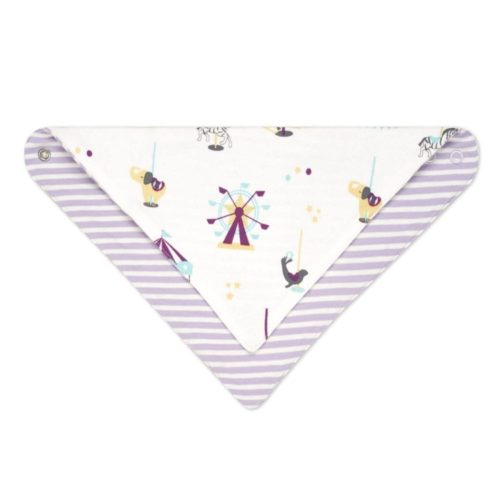 Reversible Organic Cotton Bandana Bib, Organic Cotton Bibs, Fun Fair Pattern Pink