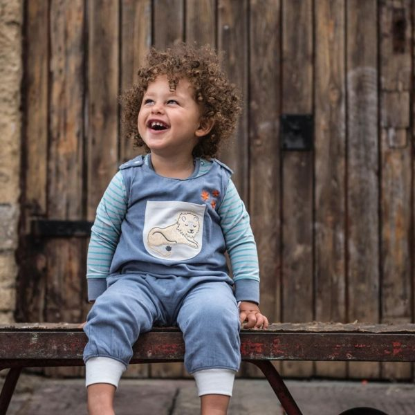 Boy wearing Needlecord Dungarees Lion, Organic Cotton Dungarees