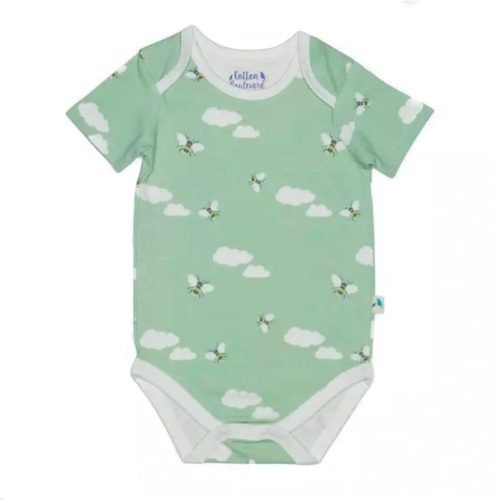 Green bees bodysuit close up